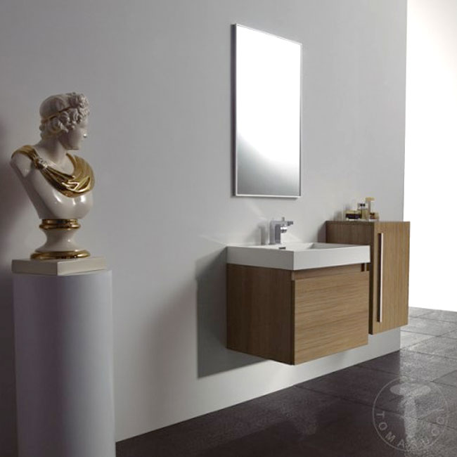Tomasucci Composition Suspended bathroom with sink, mirror and teak finish column