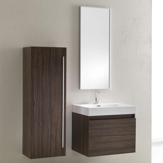 Tomasucci Composition Suspended bathroom with sink, mirror and walnut finish column