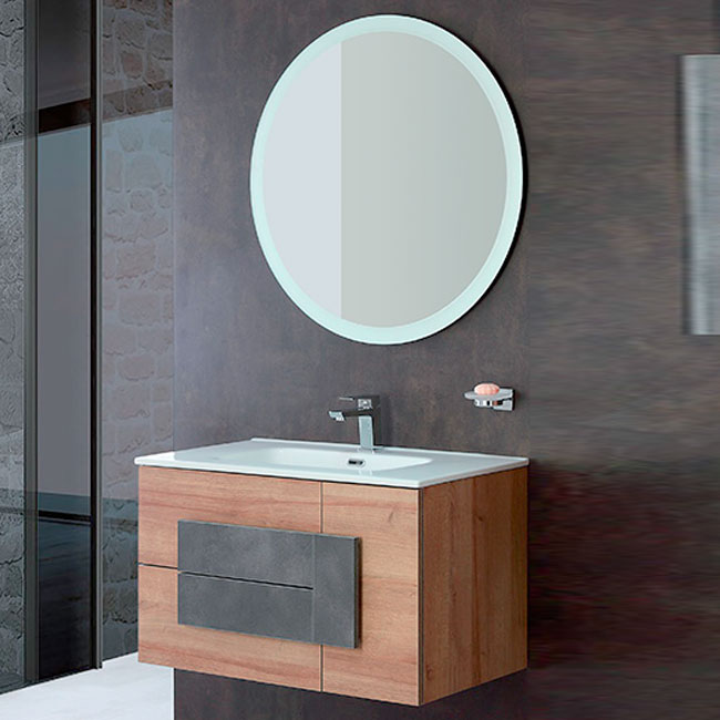 Bathroom composition Wall cabinet W 80 cm two drawers and a door, with Urban Feridras sink and mirror