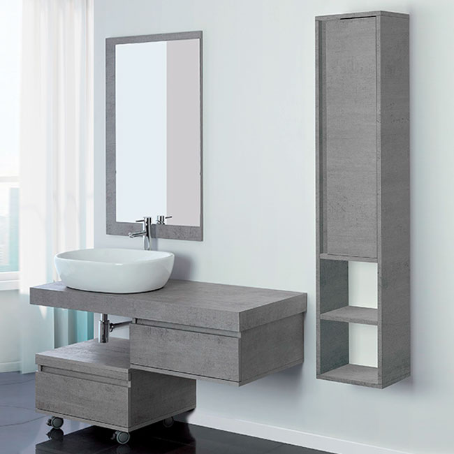 Feridras Arredo Bagno Suspended bathroom composition 120 cm with sink, drawer unit on wheels, mirror and hanging column Shelf 120