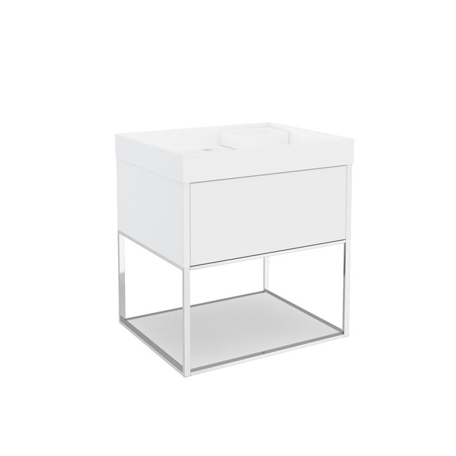 Cosmic The Grid Washbasin with 1-drawer Cabinet and Auxiliary Unit with Fixed Shelf 60cm