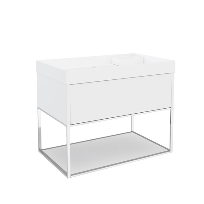 Cosmic The Grid Washbasin with Cabinet with Led, Power Socket Speakers and Fixed Shelf 80cm