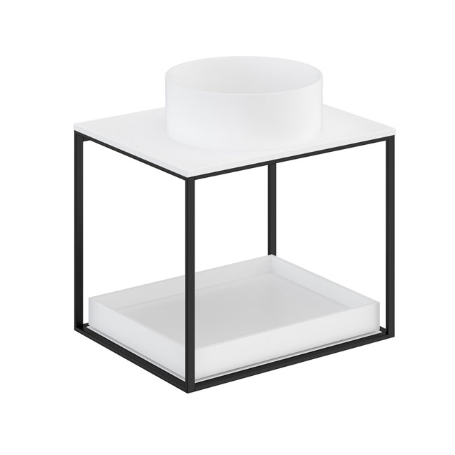 Cosmic The Grid Evo Round Washbasin + White Countertop+lower Unit with Sliding Shelf 59.6cm