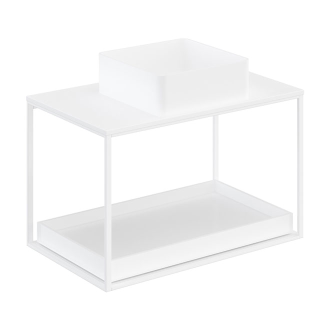 Cosmic The Grid Evo Square Washbasin+white Countertop+lower Unit with Sliding Shelf 79.6cm
