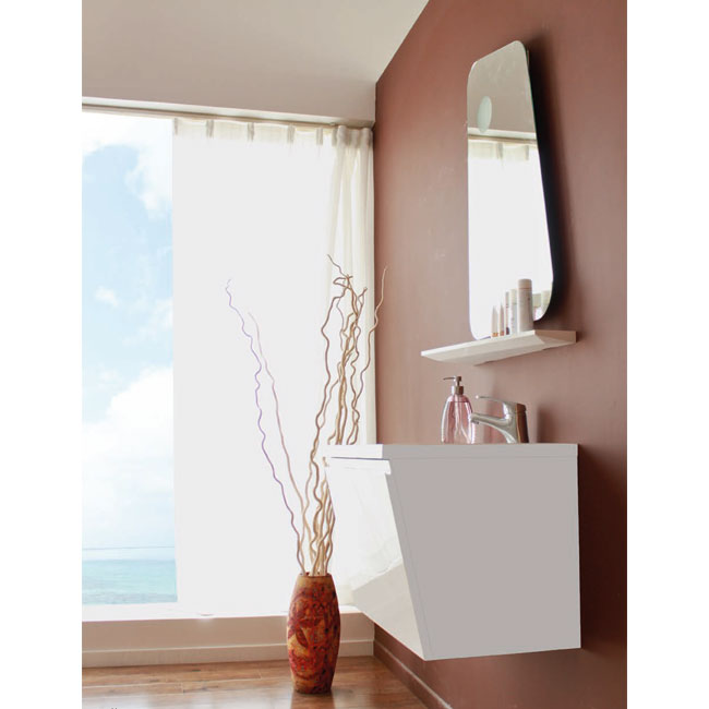 Tomasucci Composition Suspended bathroom with washbasin and mirror with 1 light E14
