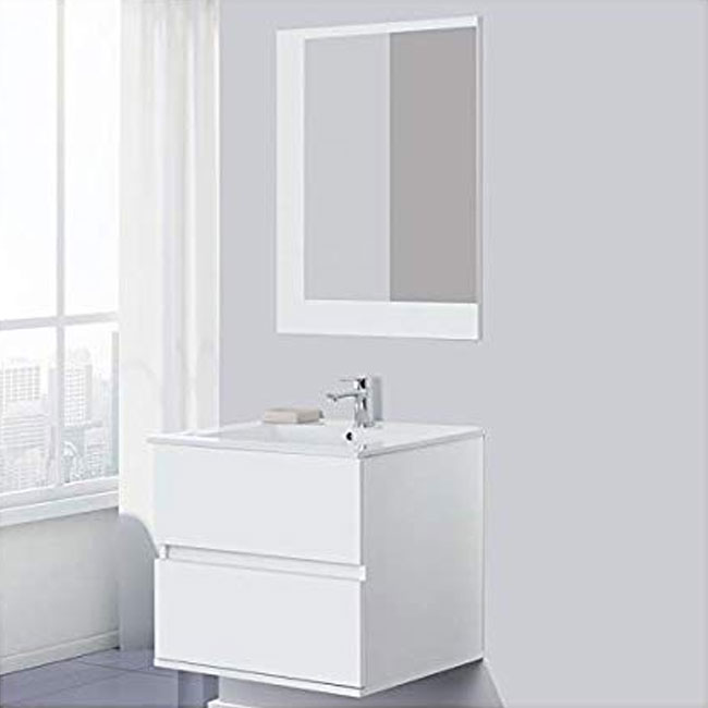 Feridras Arredo Bagno 60 cm bathroom composition suspended with sink and mirror Fabula 60 white lacquered