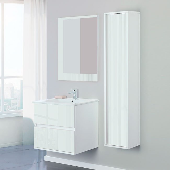 Feridras Arredo Bagno 60 cm bathroom composition suspended with sink, mirror and hanging column Fabula 60 white lacquered