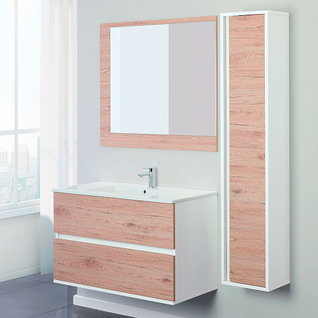 Feridras Arredo Bagno Composition of 2 suspended bathroom fittings with washbasin, mirror and hanging column Fabula 90