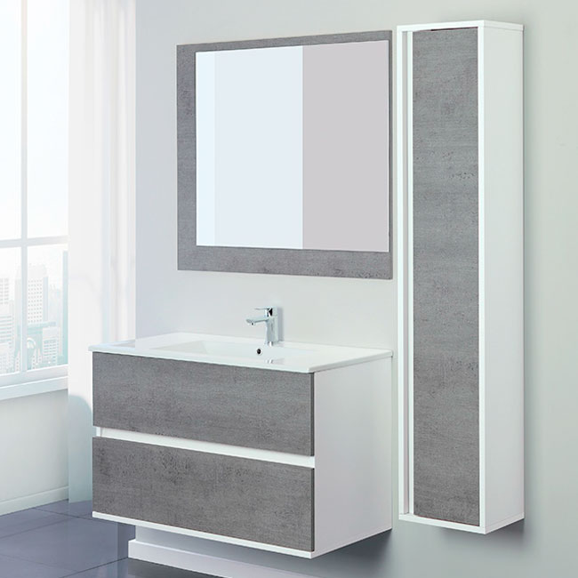 Feridras Arredo Bagno Bathroom composition 90 cm suspended 2 drawers with sink, mirror and hanging column Fabula 90