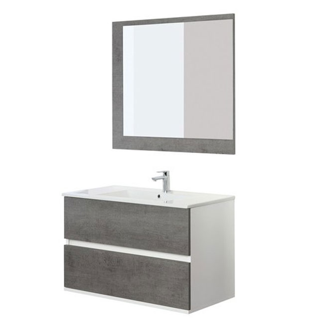 Feridras Arredo Bagno Bathroom composition 90 cm suspended 2 drawers with sink and mirror Fabula 90 L 90 cm