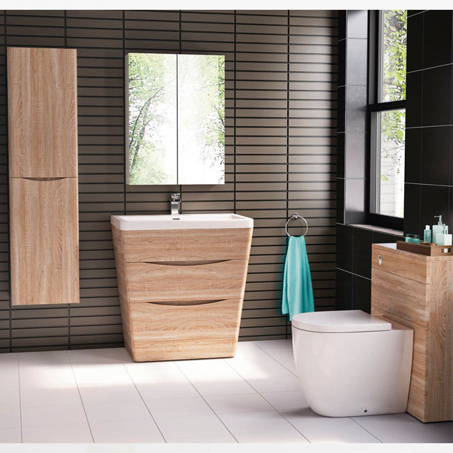 Tomasucci Composition Bathroom from the floor with sink, mirror and hanging column
