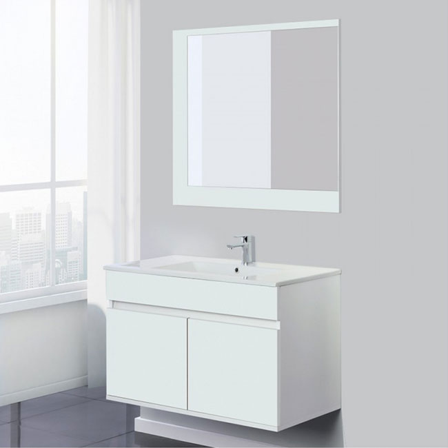 Feridras Arredo Bagno Bathroom composition 90 cm suspended 2 doors with sink and mirror Fabula 90 L 90 cm