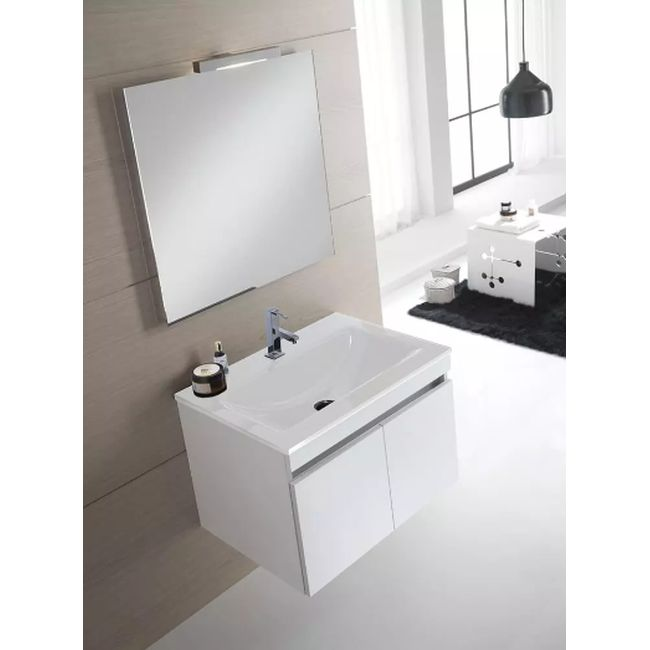 Suspended bathroom furniture composition L 70cm two doors with sink, mirror and LED lamp Darwin White TFT