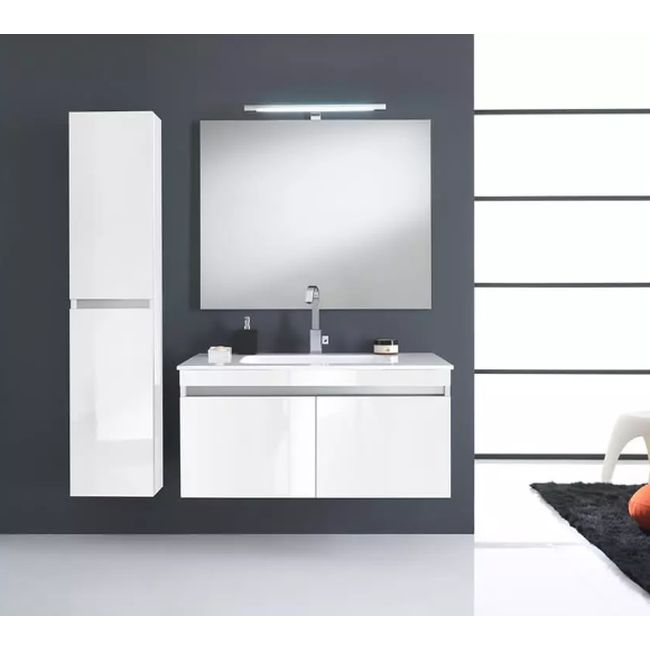 Suspended bathroom furniture composition L 100cm two doors with sink, hanging column, mirror and LED lamp Darwin Gloss white lacquered TFT