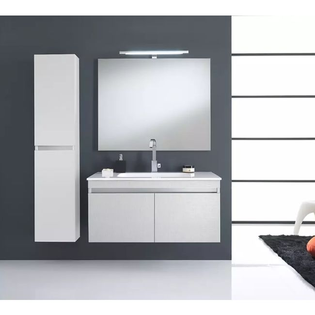 Suspended bathroom furniture composition L 100cm two doors with sink, hanging column, mirror and LED lamp Darwin White TFT