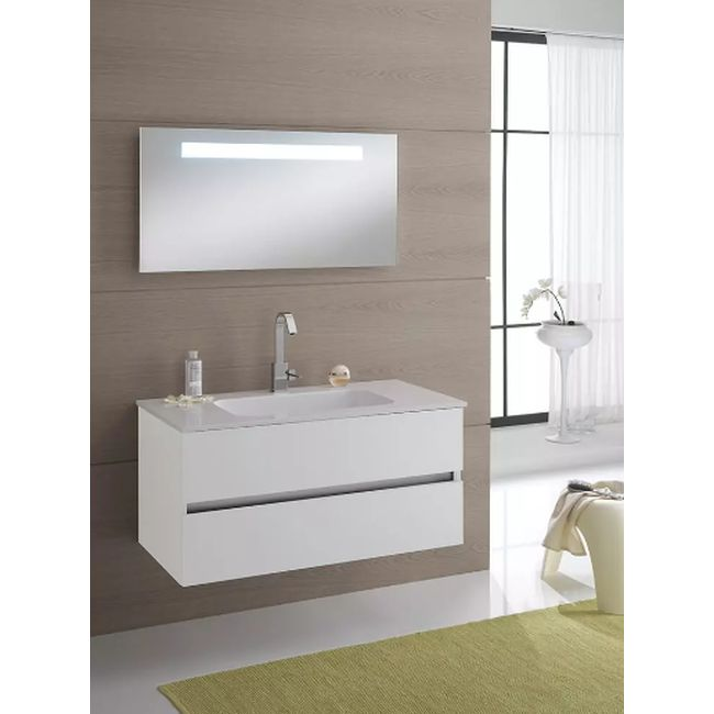 Suspended bathroom furniture composition L 100cm two drawers with sink and mirror with LED strip Darwin White TFT