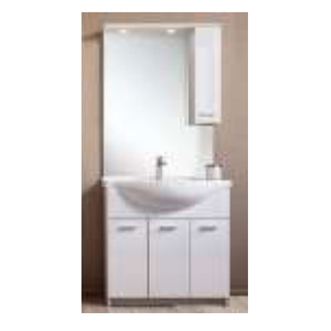 Bathroom cabinet Classica L 105 cm floor composition with sink, mirror, wall unit and LED spotlights Savini