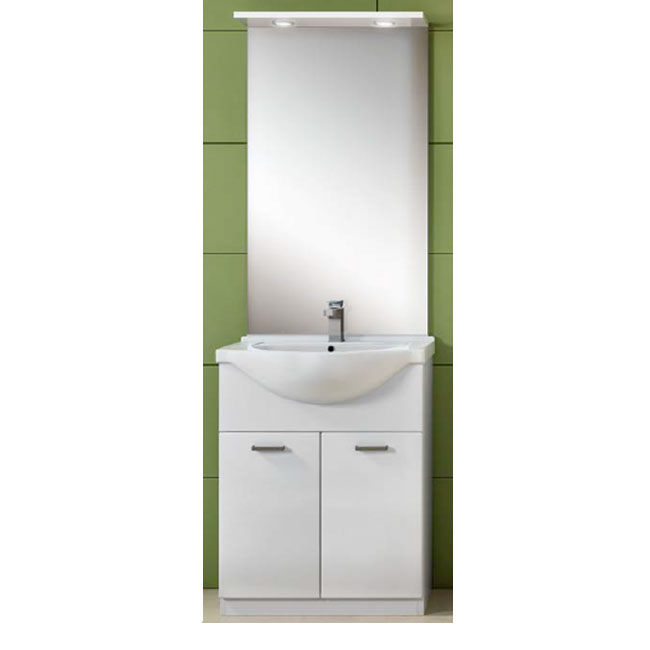 Bathroom cabinet Classica L 65 cm floor composition with sink, mirror and LED spotlights Savini