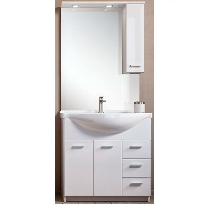 Bathroom cabinet Classica L 75 cm floor composition with sink, mirror, wall unit and LED spotlights Savini