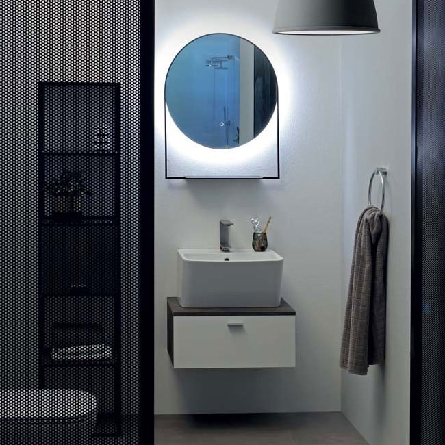 Colavene Wynn 60 cm bathroom composition suspended with sink, cabinet and backlit mirror