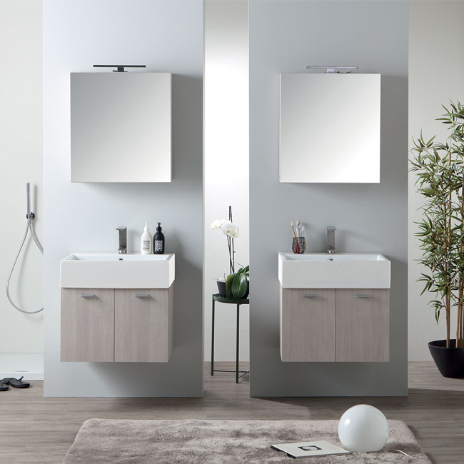 Colavene Volant 60 cm bathroom composition suspended with sink and mirror with LED light