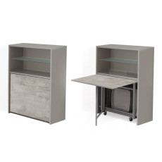 Pezzani Bookcase with folding table and 6 folding chairs Archimede + Piper Dove-grey