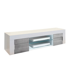 TFT TV stand with 2 doors Build L 181 cm (LED kit not included) White-Cement