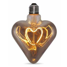Light bulb Vintage LED Filament Curved Heart 5W E27 2000K 220/240V L 12.5 cm smoked dimmable DLItalia