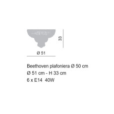 Empire Beethoven Ceiling Lamp Ø 50 cm Voltolina Style 6 E14 lights