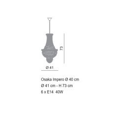 Empire Empire chandelier Ø 41 cm Voltolina style 6 lights E14