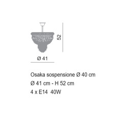 Impero Osaka suspension Ø 41 cm Voltolina style 4 lights E14