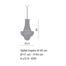 Empire Settat Chandelier Ø 41 cm Style Voltolina 6 lights E14