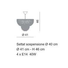Settat Empire Suspension Ø 41 cm Voltolina Style 4 lights E14