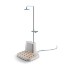 Lineabeta Outdoor shower furniture with base in polyethylene, bracket and shower head in Istà powder coated metal H 230 cm