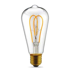 Bulb Vintage LED Filament Curved Clear ST64 5W E27 2200K 220/240V Ø 9.5 cm clear dimmable DLItalia