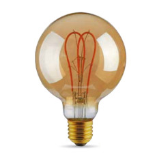 Bulb Vintage LED Filament Curved Gold 5W E27 2000K 220/240V Ø 9.5 cm gold dimmable DLItalia