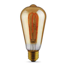 Bulb Vintage LED Filament Curved Gold ST64 5W E27 2000K 220/240V Ø 6.4 cm gold dimmable DLItalia