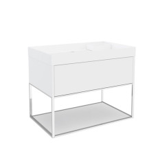 Cosmic The Grid Washbasin with 1-drawer Cabinet and Auxiliary Unit with Fixed Shelf 80cm