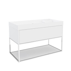 Cosmic The Grid Washbasin with Cabinet with Led, Power Socket Speakers and Fixed Shelf 100cm