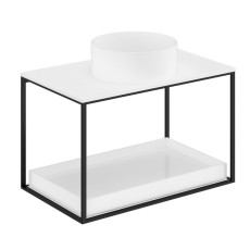 Cosmic The Grid Evo Round Washbasin+ White Countertop+lower Unit with Sliding Shelf 79.6cm