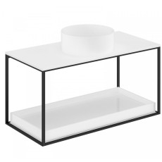 Cosmic The Grid Evo Round Washbasin+ White Countertop+lower Unit with Sliding Shelf 99.6cm