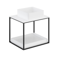 Cosmic The Grid Evo Square Washbasin+White Countertop+lower Unit with Sliding Shelf 59.6cm