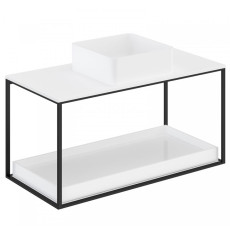 Cosmic The Grid Evo Square Washbasin+White Countertop+lower Unit with Sliding Shelf 99.6cm