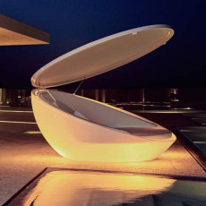 Vondom Daybed with parasol Smart bright wireless LED RGBW on battery Ulm Ø 210 cm