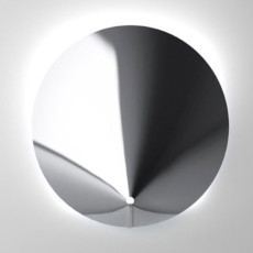 Vesta_Design Large Round Wall Lamp in Stainless Steel Gong E 27 ø 120 cm th. 8/10 steel