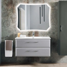 Bluelife Suspended Bathroom Composition Cleide with sink and LED mirror L 102x47 cm