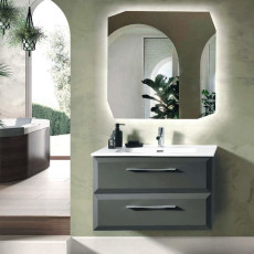 Bluelife Suspended Bathroom Composition Cleide with sink and LED mirror L 82X47 cm
