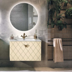 Bluelife Suspended Bathroom Composition Cocò with sink and LED mirror L 82X47 cm