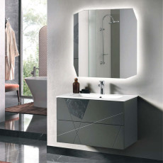 Bluelife Crizia Suspended Bathroom Composition with sink and LED mirror L 80x47 cm