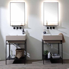 Colavene Volant Bathroom composition 60 cm from the floor with sink, cabinet and backlit mirror